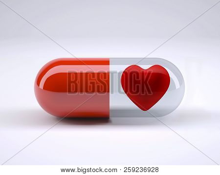 Red Pill With Heart Inside, 3d Illustration