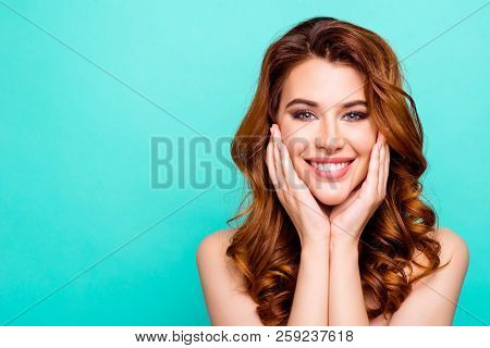 Advertising Concept. Portrait Of Young Woman With Big Toothy Smile, Modern Curly Ginger Hairdo, Enjo