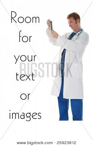A scientist or other laboratory worker holds a test tube in gloved hands.  isolated on white