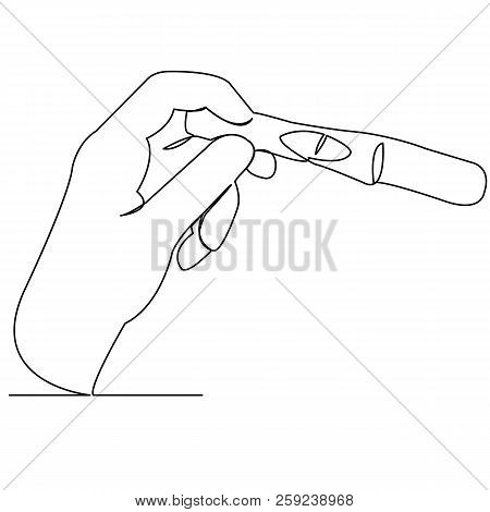 Continuous Single Drawn One Line Hand With Dough For Pregnancy Hand-drawn Picture Silhouette. Line A