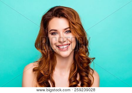 Close Up Portrait Of Lovely, Cute, Sweet, Gorgeous, Nice, Stunning, Adorable, Good-looking Woman Wit