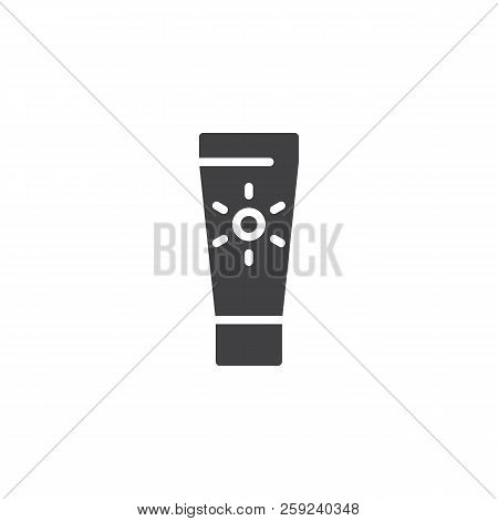 Suntan Cream Vector Icon. Filled Flat Sign For Mobile Concept And Web Design. Sunscreen Simple Solid