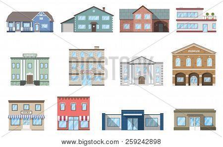 Buildings Set. Residential Cottages, Store, Mall, Ship, Museum, Hospital, Library, Bank Building Iso