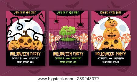 Vertical Happy Halloween Invitation Posters Set . Greeting Cards .scary  Party.banner For Celebratin