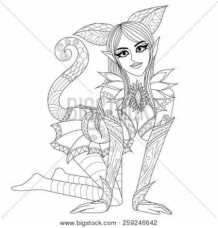 Coloring Pages. Coloring Book For Adults. Cat Girl With Seductive Pose.anti Stress Freehand Sketch D