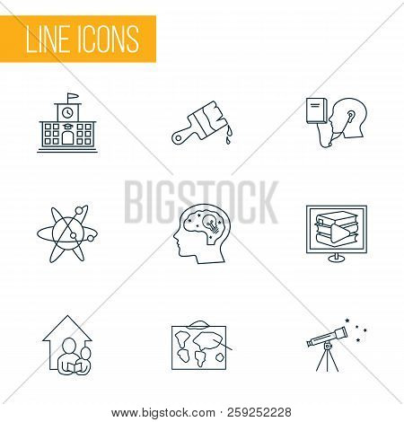 Education Icons Line Style Set With Creativity, High School, Digital Library And Other E-reader Elem