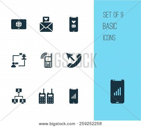 Connection Icons Set With Mobile Connection, Love Message, Operator With Customer And Other Walkie-t