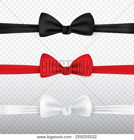 Realistic White, Black And Red Bow Tie Isolated On Transparent Background. Set Of Tie Bow Knot Silk,
