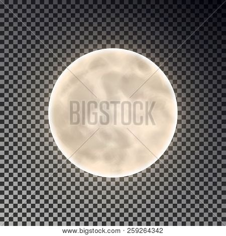 Full white moon isolated. Dark night sky background. Closeup moon light transparent effect. Moon isolated. Moon effect. Glow moonlight at dark space. Luna vector, moon illustration.