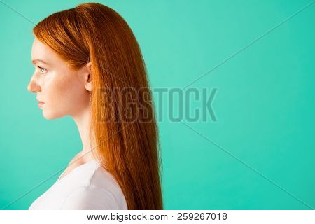 Profile Side View Of Nice Peaceful Calm Content Cute Attractive Stylish Bright Vivid Shiny Red Strai