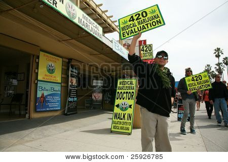 VENICE BEACH, CA - MARCH 13: People hawk
