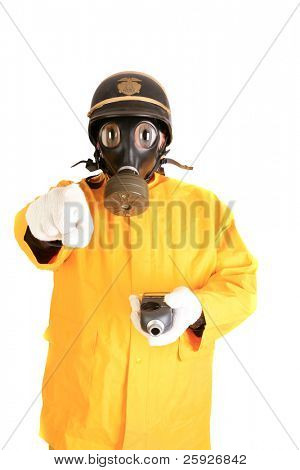 Big Eyed Nuclear Security Guard, could be an alien from outer space or a mutated person due to nuclear energy, isolated on white with room for your text