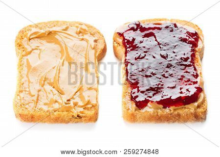 Sandwich With Peanut Butter And Jelly Isolated On White Background