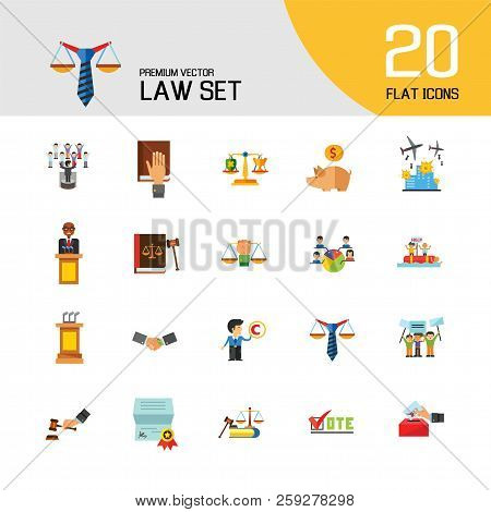 Law Icon Set. Copyright Hand With Gavel Scales Law Concept Scales With Cup And Shield Corruption Civ