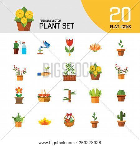 Plant Icon Set. Basket With Flowers Wheat Ears Watering Plant In Flowerpot Flowers In Pot Tulips In