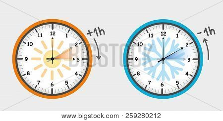 Daylight Saving Time Summer Fall Back And Spring Forward Clocks Set Vector Illustration