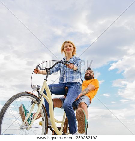 Couple With Bicycle Romantic Date Sky Background. Explore City. Man And Woman Rent Bike To Discover