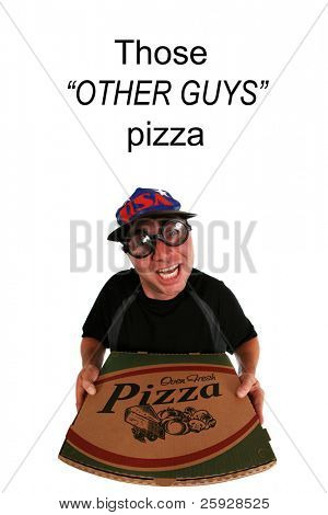 A funny happy pizza delivery man delivering a hot, fresh  pizza to you the hungry customer. Isolated on white with room for your text. shot with a fish eye lens for a fun image