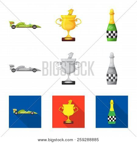 Vector Illustration Of Car And Rally Sign. Collection Of Car And Race Stock Symbol For Web.