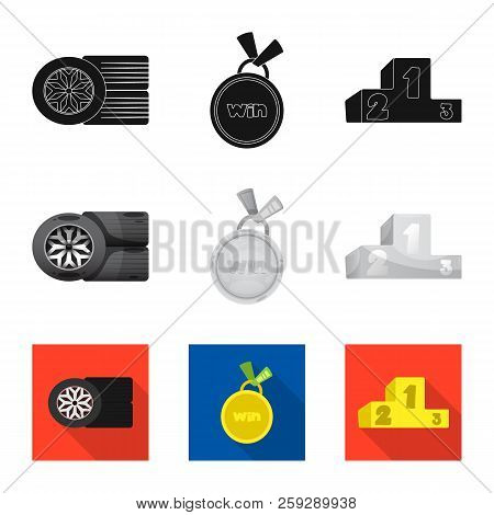 Vector Design Of Car And Rally Icon. Set Of Car And Race Stock Vector Illustration.