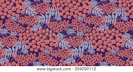 Modern Pink Rowanberry Seamless Pattern For Autumn Design Projects. Fall Natural Rowan Repeatable Mo