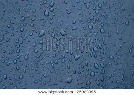 Raindrops on the blue tent