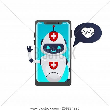 Medical Robot Shaking Hands And Talk To Patient Through Smartphone Screen.medical Chatbot Concept. O