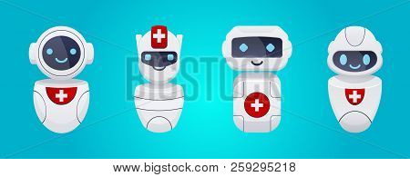 Cute Medical Robots Characters Set. Chatbots Concept. Future Modern Ambulance.  Online Doctor  Consu