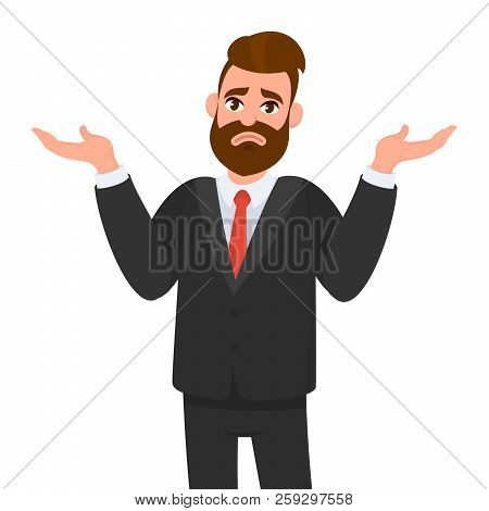 Oops, Sorry, I Do Not Know. Young Business Man Shrugs, Shows Helpless Gesture And Spread His Hands,