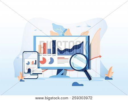 Seo Reporting, Data Monitoring, Web Traffic Analytics, Big Data Flat Vector Illustration On Blue Bac