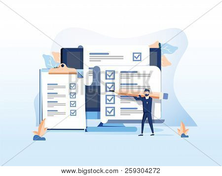 Isometric Flat Vector Concept Of Online Exam, Questionnaire Form, Online Education, Survey, Internet