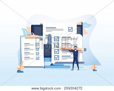 Isometric Flat Vector Concept Of Online Exam, Questionnaire Form, Online Education, Survey, Internet