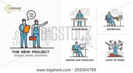 Builders, A New Project, Engineer, Estimates. Stages Of Construction. Lined Icon, Icons. Advertising