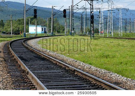 Trans-Siberian railway, the longest railway in the world, near Lake Baikal in Siberia, Russia