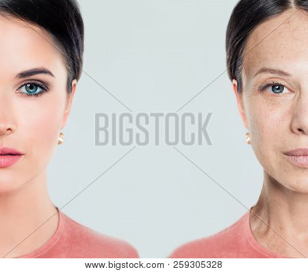 Aging And Youth Female Face. Woman, Beauty Treatment And Lifting. Before And After, Youth And Old Ag