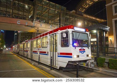 Salt Lake City - Jun. 19, 2018: Uta Light Rail Siemens Sd-160 Blue Line At City Center Station At Ni
