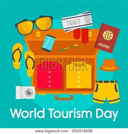 World Tourism Day Background. Flat Illustration Of World Tourism Day Background For Web Design