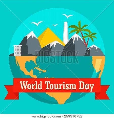 World Tourism Day Holiday Background. Flat Illustration Of World Tourism Day Holiday Background For
