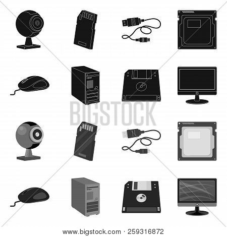 Isolated Object Of Laptop And Device Logo. Set Of Laptop And Server Stock Vector Illustration.