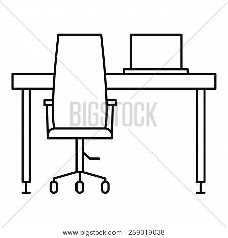 Desktop Table Computer Icon. Outline Illustration Of Desktop Table Computer Icon For Web Design Isol