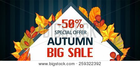 Autumn Special Offer Sale Banner Horizontal. Cartoon Illustration Of Autumn Special Offer Sale Banne