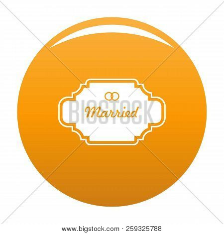 Married Label Icon. Simple Illustration Of Married Label Icon For Any Design Orange