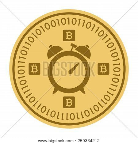 Golden Coin With Alarm Clock Sign. Money And Finance Symbol Cryptocurrency. Vector Illustration Isol