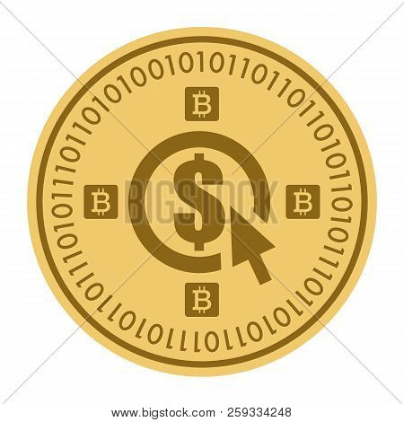 Golden Coin With Dollar Currency Sign. Money And Finance Symbol Cryptocurrency. Vector Illustration