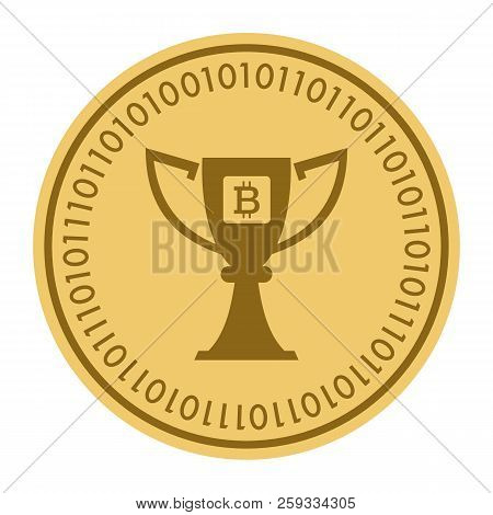Golden Coin With Bitcoin Sign. Money And Finance Symbol Cryptocurrency. Vector Illustration Isolated