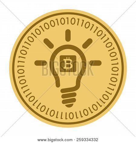 Golden Coin With Light Bulb Sign. Money And Finance Symbol Cryptocurrency. Vector Illustration Isola