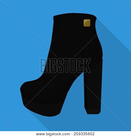 Chunky Woman Boots Isolated Flat Icon Vector Litta