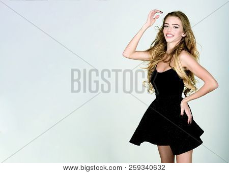 Sexy Woman In Black Dress. Beauty, Fashion, Hairstyle. Girl With Wavy Hair. Elegant Lady In Black Pr