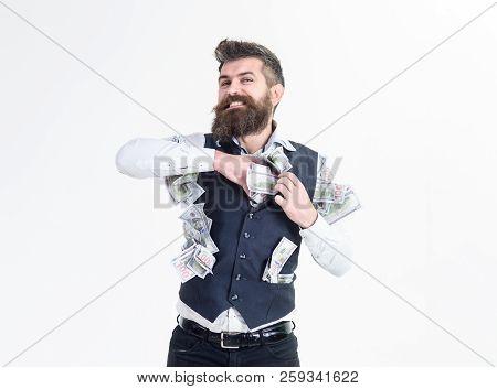 I Am Rich! Happy Businessman In Formalwear Hiding Money In Jacket. Business Man Putting Money In Wai