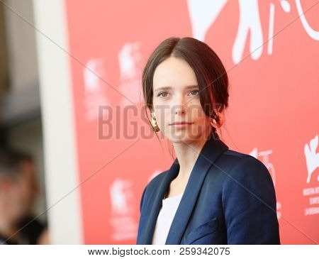 Stacy Martin attends 'Vox Lux' photocall during the 75th Venice Film Festival at Sala Casino on September 4, 2018 in Venice, Italy